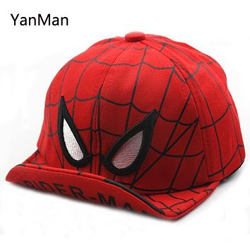 YanMan 2017 Kids Baseball Cap Fashion Spider-man Character Soft Hat Brim Boys Girls Hip Hop Hat casquette gorras snapback cap
