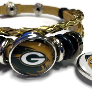 NFL Green Bay Packers Gold Leather Bracelet W/2 Cool Football Logo Snap Jewelry Charms New Item