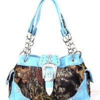 BLUE CAMO CAMOUFLAGE HANDBAG WESTERN BUCKLE PURSE