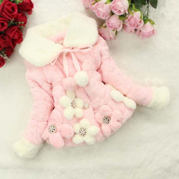 Baby Kids Girls Winter Flowers Faux Fur Cotton Thick Coat Outerwear Jacket  7_S = 1919834820