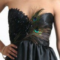 Black Peacock Feathers Knee Length Gown | lovekarlak - Clothing on ArtFire