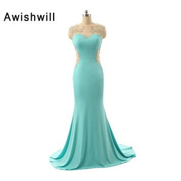 Custom-made Sexy Backless Long Prom Gown 2018 Mermaid Vestido De Festa Handmade Beadings Sleeveless Evening Prom Dresses