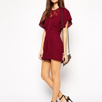 ASOS PETITE Exclusive Playsuit with Lace Insert and Kimono Sleeve