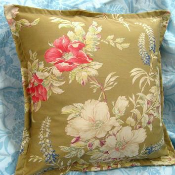 BOATHOUSE FLORAL Pillow (1) 18x18 Hand Made Ralph Lauren Cotton Fabric - 1 Custom Made