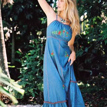 Summer and Holiday Backless Beach Embroidered Denim Dress
