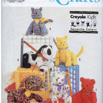 Crayola Kids Jointed Autograph Hound Dog Cat Bear Stuffed Animal Pattern Kitten Puppy Toy UNCUT Craft Sewing Pattern  Simplicity 7552