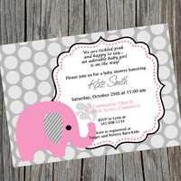 Printable Pink Elephant Baby Shower Invitation.  Customized Shower Invitation.  Cute Pink Elephant Birthday Invitation.