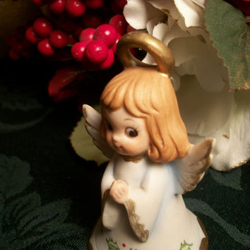 Porcelain Angel Figurine Bell Vintage 1960's Hand Painted Ceramic Christmas Holiday Home Decor
