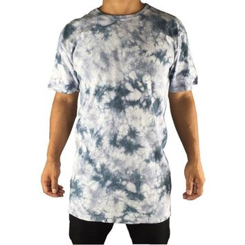 Short Sleeve Men Round-neck Pullover Rinsed Denim Print Cotton T-shirts [408685215773]