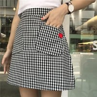 Checkered Heart Pocket Skirt