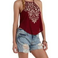 Burgundy Embroidery Print Racer Front Tank Top by Charlotte Russe