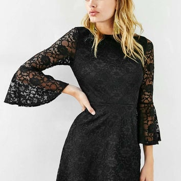 Oh My Love Trumpet Sleeve Lace Dress - Urban Outfitters