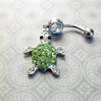 Rhinestone Turtle Belly Button Ring