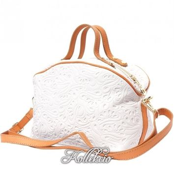White Genuine Italian Leather MakeUp Bag with Long Strap