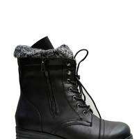 (alz) Knit collared black lace-up combat boots