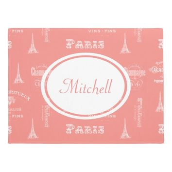 Paris Label French Coral Personalized Doormat
