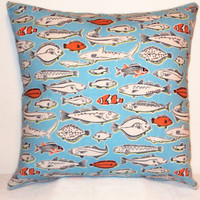 "Pillow Covers 18"" Set of Two - Nautical Blue and Orange Fish Pattern"
