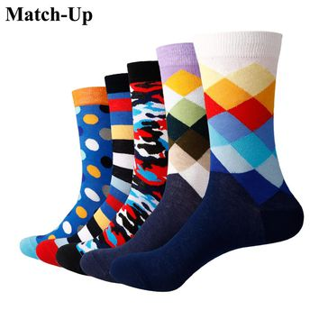 Match-Up Men Colorful Cotton Stripe  Socks  Art Patterned Casual Crew Socks 5-Pack Shoe Size 6-12