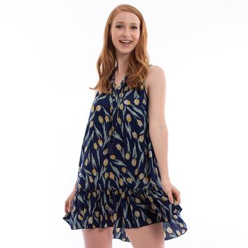 Tulip Print Tiered Dress