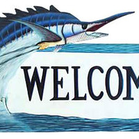 Painted Metal Sailfish Welcome Sign - Nautical Fishing Design