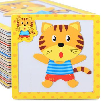 ICIK272 Kids 3D Magnetic Puzzles Jigsaw Wooden Toys Cartoon Animals Puzzles Tangram Child Educational Toy for Children