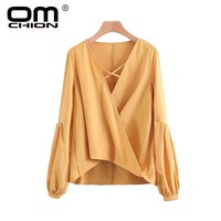Autumn Shirts Solid Cross Women Tops And Blouses Lace-Up Deep V Neck Lantern Sleeve Sexy