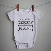 Adventure begins bodysuit for baby boy or baby girl