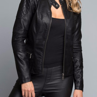 Checkered Vegan Leather Jacket in Black