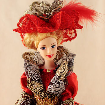 Barbie Doll Box,MADE TO ORDER  fairytale princess, gift for girl, lace red and black airy dress, young lady, fantasy