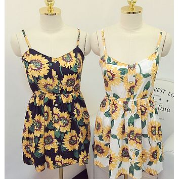 CUTE SUN FLOWER STRAPS DRESS