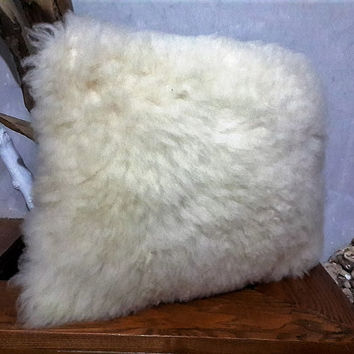 Genuine Sheepskin Decorative Pillow With Filling | 100% Naturel Sheep Skin Throw Pillow | White Fur Decorative Throw Cushion