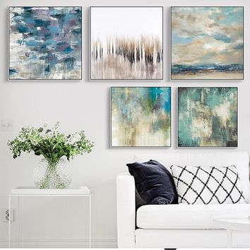 Wall Art Nordic Abstract Canvas Painting Oil Painting Green Water Landscape Picture no Frame Poster Home Decor for Living Room