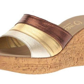 MDIGYW3 Onex Balero Bronze Multi High Heel Wedge Sandals