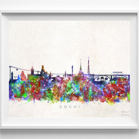 Sochi Skyline Print, Russia Art, Sochi Poster, Russia Wall Art, Cityscape, Home Decor, Dorm Decor, City Poster, Christmas Gift