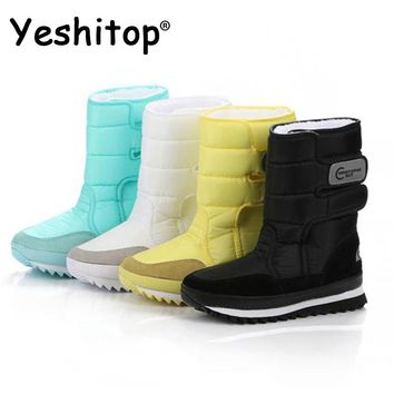 Female Snow Boots Winter Boots women flat waterproof 2018 Shoes Botas Mujer Botas femininas de inverno Black White plus size