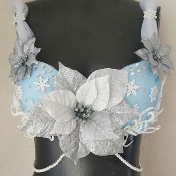 Queen Elsa Frozen Inspired Rave Bra- Ice Queen Rave Bra-Winter Wonderland Festival Rave Top- Frozen Elsa Rave Bra-Winter Rave Top