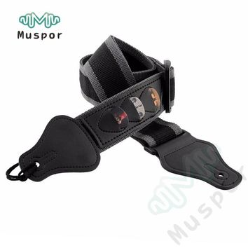Multifunction Electric Guitar Strap Guitarra Strap W/3 Pick Holders Leather Useful Nylon Guitar Parts Accessories Black