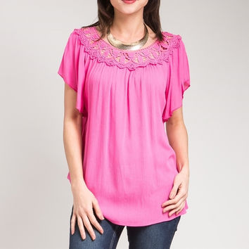 Flutter Sleeve Lace Top in Pink