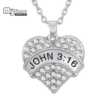 my shape  holy bible John 3:16 Crystal Pendant Big Chunky Heart  Necklaces Inspirational Fashion Women Jewelry  Accessories