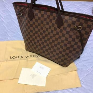 LOUIS VUITTON LV Neverfull MM Damier Tote Bag Purse Women Luxury Auth Italy New