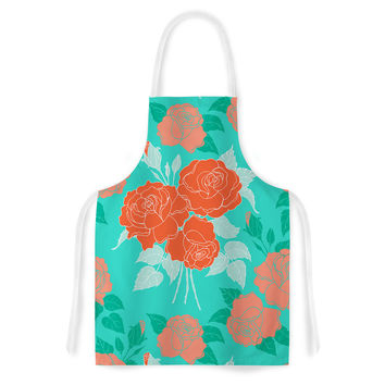 "Anneline Sophia ""Summer Rose Orange"" Teal Green Artistic Apron"