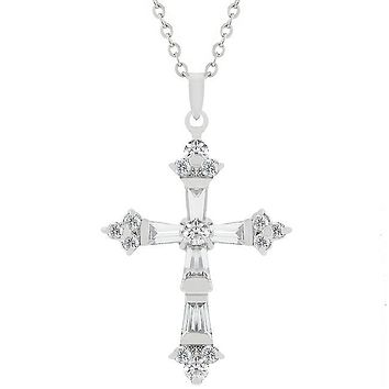 Brilliant CZ Cross Pendant in Silvertone Rhodium over Alloy