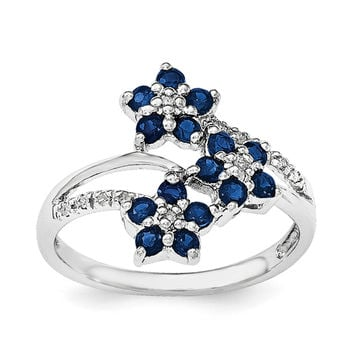 Sterling Silver Rhodium-plated 3 Flower Sapphire and Diamond Ring