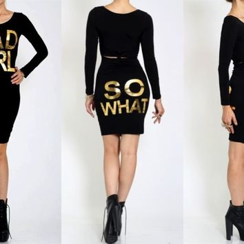Bad Girl So What? Black Bodycon Dress with Back Key Hole Cut Out Sizes S-M-L