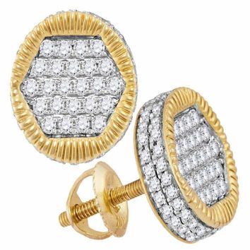 10kt Yellow Gold Mens Round Diamond 3D Circle Cluster Stud Earrings 3-4 Cttw - FREE Shipping (US/CAN)