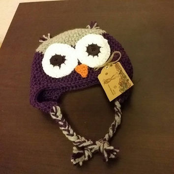 Free Shipping Crochet Owl Earflap Beanie Hat in Purple and Grey, Crochet Baby Hat, Christmas Gift, Photo Prop