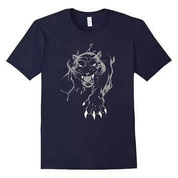 Tiger T-Shirt Panther Claws Cool Graphic Art Wild Animal Tee