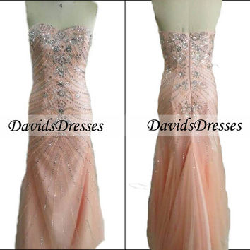 Pink Long Prom Dress 2016, Custom Handmade Beaded Prom Dresses