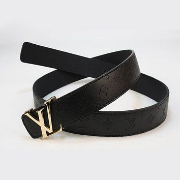 LV Woman Men Fashion Smooth Buckle Belt Leather Belt I