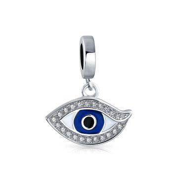 Crystal Blue Evil Eye Dangle Charm Bead 925 Sterling Silver Bracelet